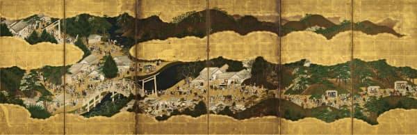 「伊勢参宮図屏風_」(左隻、17世紀、六曲一双、紙本金地着色、根津美術館蔵)