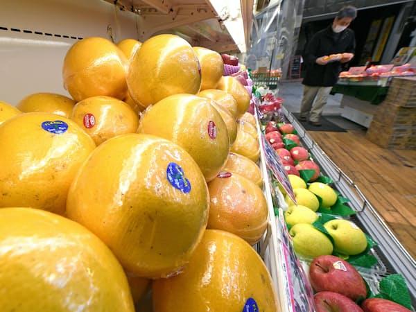 青果店に並ぶグレープフルーツ(東京都北区)