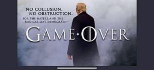 トランプ米大統領はロシア疑惑を「ゲームオーバーだ」と断じた(18日投稿のツイッター画面)