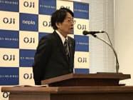 王子HDの加来社長(19日、東京都中央区)