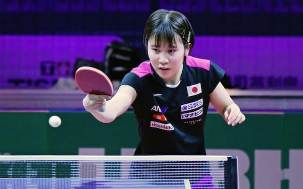 世界選手権個人戦の会場で初練習する平野美宇