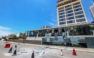 スリランカ・コロンボの爆発現場(21日)=ゲッティ共同