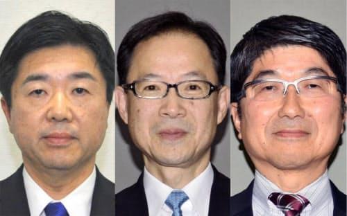 (左から)高橋靖氏、佐藤樹一郎氏、田上富久氏=いずれも共同
