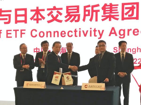 ETF相互上場の覚書に署名し、握手する日本取引所グループ(JPX)の清田瞭最高経営責任者(左から3人目)と上海証券取引所の蒋鋒総経理(右から2人目)
