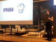 LINEは「ドラえもん」のゲームを年内に配信すると発表した(22日、東京都新宿区)