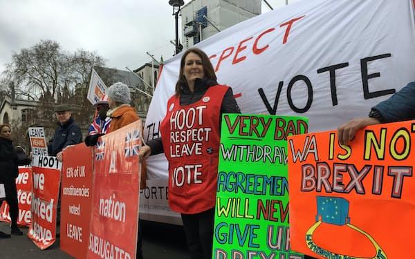 地方選ではブレグジットの是非も争点となる(英議会前の離脱派のデモ、2019年3月)
