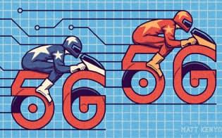 5G巡る争い、現在は中国が先行しているが…(Matt Kenyon/Financial Times)