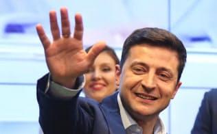ウクライナ大統領選の決選投票で勝利したウォロディミル・ゼレンスキー氏=ロイター