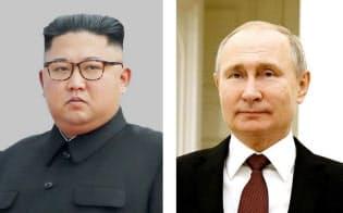 金正恩朝鮮労働党委員長とロシアのプーチン大統領=共同