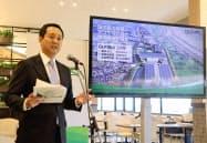 施設拡張計画を発表する日本GLPの帖佐義之社長(23日、千葉県流山市内)