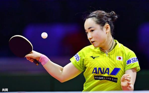 女子シングルス1回戦で勝利した伊藤美誠(23日、ブダペスト)=共同