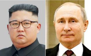 北朝鮮の金正恩(キム・ジョンウン)委員長(左)とロシアのプーチン大統領=共同