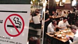 五輪を控え加速?#24037;?#21463;動喫煙対策。完全禁煙の居酒屋も増えている(東京?銀座の「権八」)=2017年6月