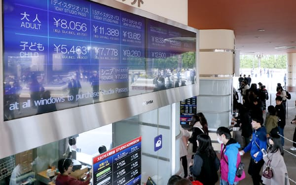 USJは混雑具合に応じて入場券の値段を変える制度を導入した(3月23日の様子)