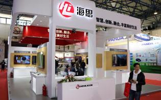 ハイシリコンはテレビ用半導体を外販している(中国・北京で3月開かれた展示会)