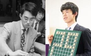 将棋で史上最年少のプロとなり、29連勝で公式戦連勝記録を更新した藤井聡太四段(平成29年6月、写真右)。写真左(共同)は竜王戦を制し、史上最年少のタイトル保持者になった羽生善治六段(平成元年12月)
