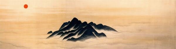 筑波山と朝日で始まる横山大観の絵巻の大作「四時山水」(部分、1947年)