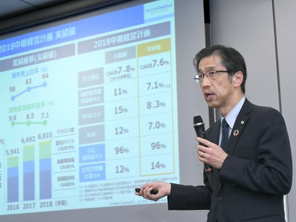 記者会見した日立化成の丸山寿社長(25日午後、東京都千代田区)