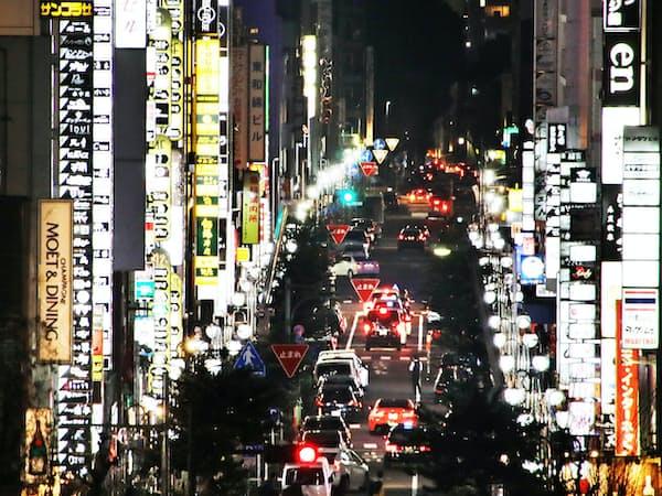 ネオンが輝く「錦3」の繁華街(名古屋市中区)