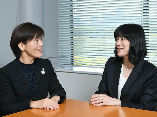 鳥海智絵・野村証券専務執行役員(左)と華房実保・三菱ケミカル執行役員