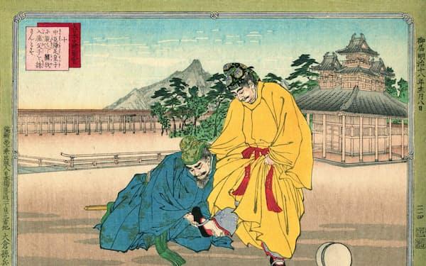 中大兄皇子と中臣鎌足は蹴鞠(けまり)の場で出会い、のちに「大化の改新」を成し遂げた(「大日本史略図会 中臣鎌足」より)=アマナイメージズ提供