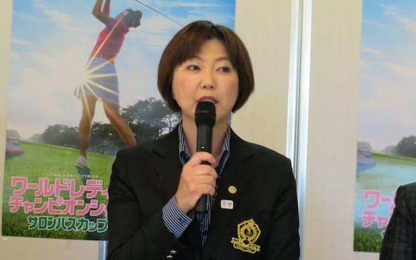 小林会長はテレビ放映権を一括管理し、LPGAの財政基盤を安定させたいと考えている(4月16日、茨城GC)