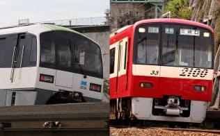 京急(写真右)とモノレールの車両