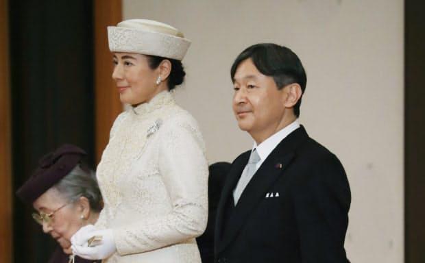 皇太子、同妃として「退位礼正殿の儀」に出席した天皇、皇后両陛下(30日午後、皇居・宮殿「松の間」)=代表撮影