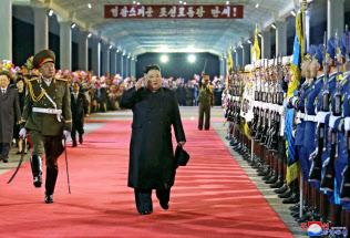 ロシア訪問を終え北朝鮮に戻った金正恩氏(27日)=朝鮮中央通信・共同