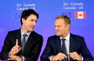 EUとカナダは16年10月にFTAに署名した=ロイター