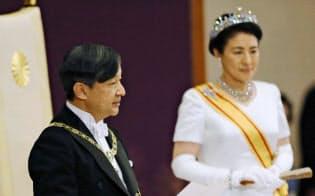 「即位後朝見の儀」でお言葉を述べられる天皇陛下=5月1日午前11時15分、宮殿・松の間(代表撮影)