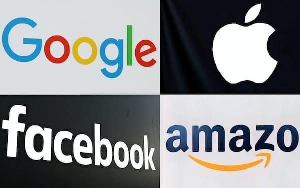 (左上から時計回りに)グーグル、アップル、アマゾン、フェイスブック