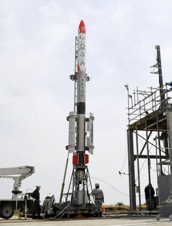 インターステラの小型ロケット「MOMO」3号機(4月30日、北海道大樹町)
