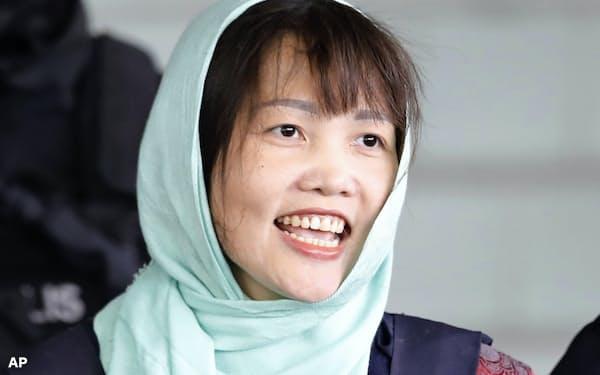 金正男氏の殺害事件で釈放されたベトナム人女性のドアン・ティ・フオンさん=AP