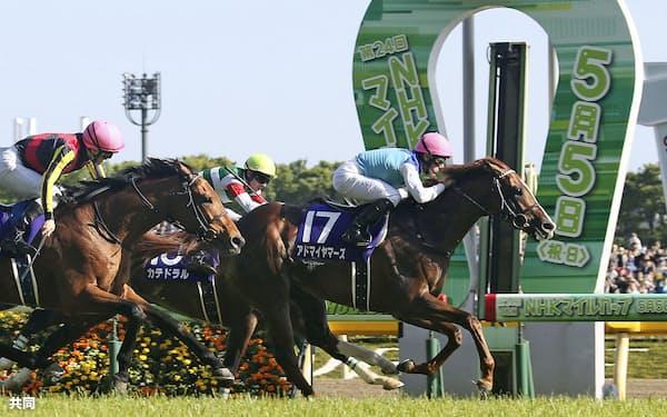 第24回NHKマイルカップを制したアドマイヤマーズ(5日、東京競馬場)=共同