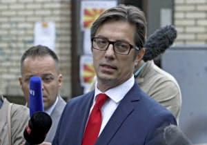 北マケドニア大統領選で勝利を確実にしたペンダロフスキ氏=AP