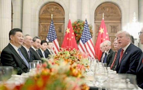 貿易戦争を協議した2018年12月の米中首脳会談(ブエノスアイレス)=AP