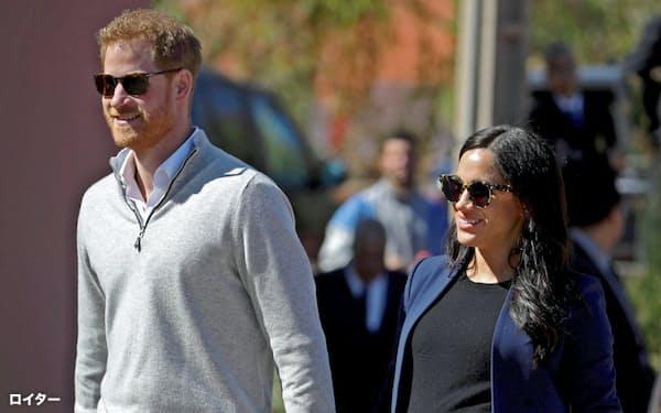 ヘンリー王子とメーガン妃=2月24日、モロッコ(ロイター=共同)