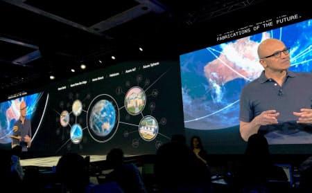 マイクロソフトの開発者向け年次会議で、ナデラCEOが技術戦略を語った(6日、シアトル)