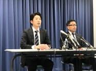 永藤氏(左)は堺市長選への再挑戦を表明した