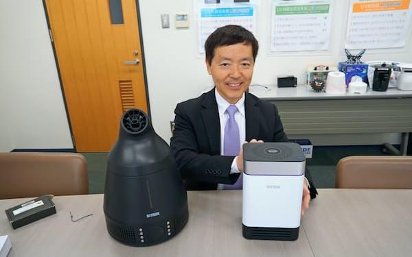 ナイトライド・セミコンダクターは宮崎県の医療機関と組み空気清浄機などの自社製品を医療機器市場で売り込む(村本宜彦社長)