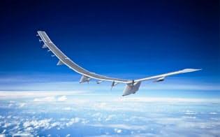 HAPSモバイルが開発したHAWK30(イメージ)。全長約78メートルで、主翼に取り付けた太陽光パネルが生む電力で6カ月間飛び続けられる