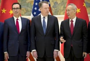 2月に北京で開かれた米中閣僚協議=ロイター