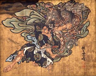 河鍋暁斎「大森彦七鬼女と争う図」(1880年、成田山霊光館蔵)