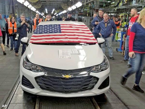 GMのオハイオ州の工場は3月に生産を休止した=AP