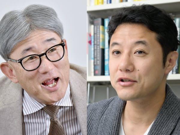 ネスレ日本の高岡浩三社長(左)と、早稲田大学ビジネススクールの入山章栄教授