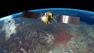 温暖化ガス観測衛星「いぶき2号」のイメージ(JAXA提供)