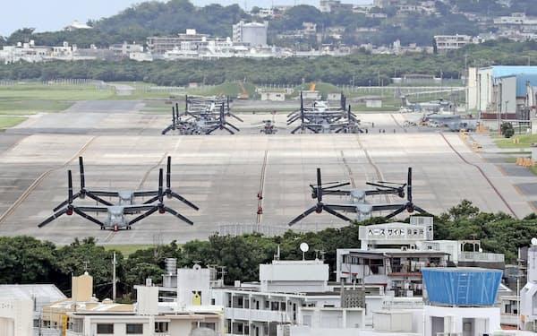 米国内には日本は自国の防衛を米国に任せ、巨額の軍事費負担を押しつけているという不満が根強くある(沖縄県宜野湾市。2018年6月)