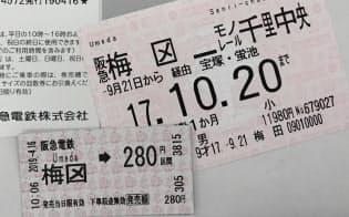梅田駅の「田」の変形表記が使われている切符や定期券
