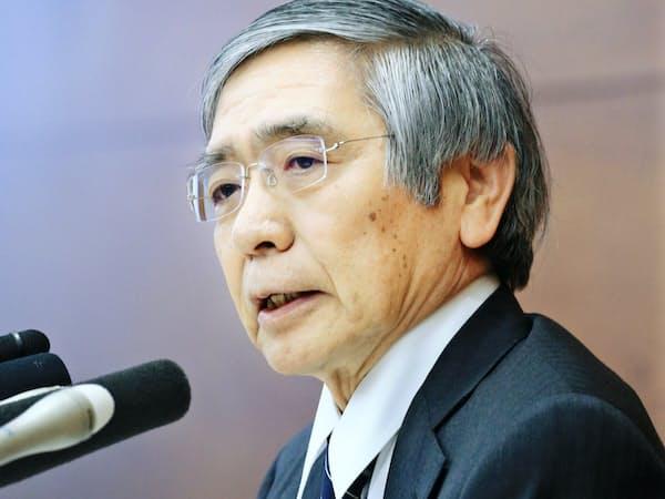 記者会見する日銀の黒田東彦総裁